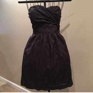J. Crew charcoal and metallic strapless dress