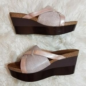 NAOT Pink  Snakeskin Slide Wedge Sandals