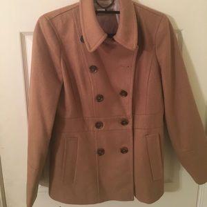Jcrew tan pea coat size 6