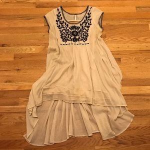 Free People High-Low Embroidered Cap Sleeve Dress