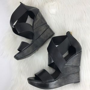 DVF The Opal Crisscross Black Wedge Sandal