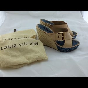 Authentic Louis Vuitton espadrilles wedges