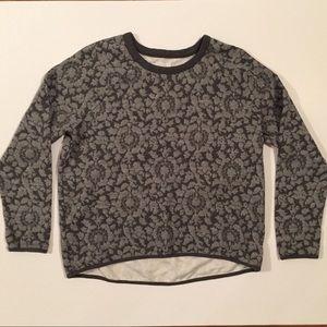 Lou & Grey M Gray Floral Jacquard Anthro sweater