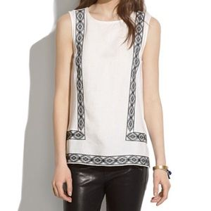 Madewell Tank Top White Linen Black Embroidery