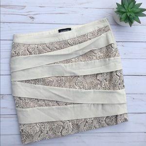 bebe Lace Bandage Cross Skirt