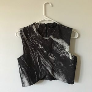 ZARA Marble Print Crop Top