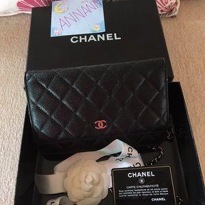 Chanel Woc black caviar silver hardware.