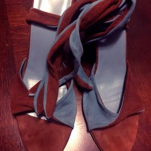 Delmar's Blue/Brown Suede wrap wedge heels 8.5N