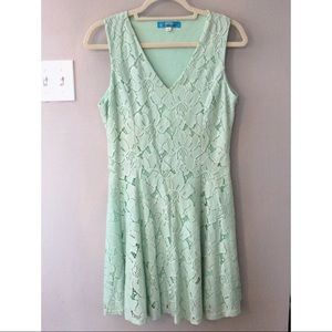 Mint Lace A-Line V-Neck Dress