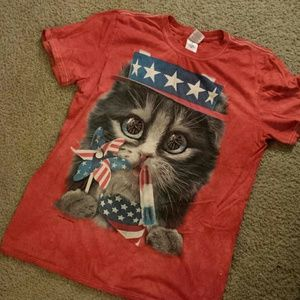 4th of July 'merica fireworks kitty shirt medium