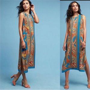 Anthropologie tribal print silk dress