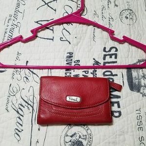 Fossil Red Leather Trifold Wallet