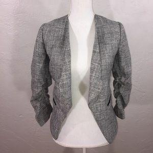 Gray silver tweed look open blazer