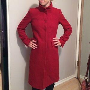 Zara woman size small red wool peacoat