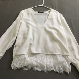 White Blouse w/ Lace underneath