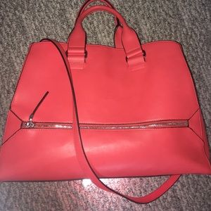 Red french connection top handle handbag
