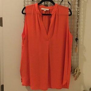 NWOT Loft Orange sleeveless blouse