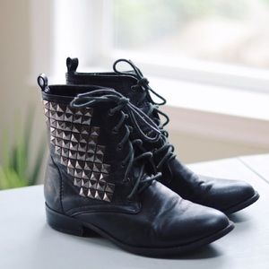 F21 Silver Studded Lace Up Black Booties