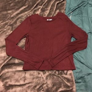 Plum long-sleeve crop top