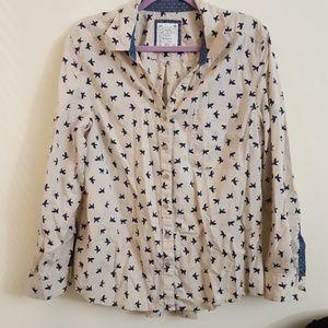 Style & Co Button Down Bird Shirt Size XL