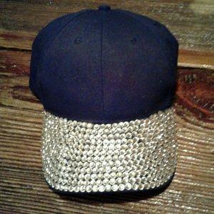 Women's Black Rhinestone Baseball Hat