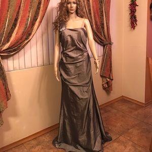 Nightway silver grey long dress