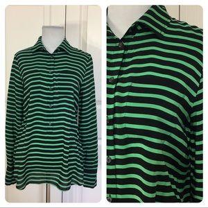 J. Crew Factory stripe silk popover blouse
