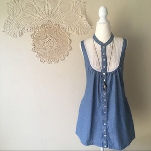 MINKPINK chambray embroidered button front dress