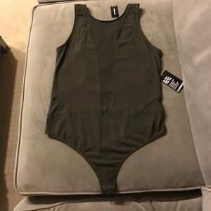 Express Olive Green Bodysuit with sheer cutout