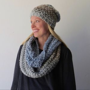 Blue and gray ombre infinity scarf and beanie set