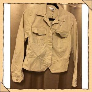 Cabi ladies khaki  cropped peplum jacket medium
