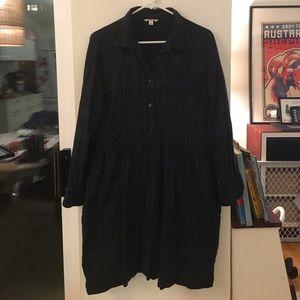 Gap navy plaid shirt dresses w/ pockets