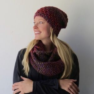 Orange, pink, and purple scarf and beanie set