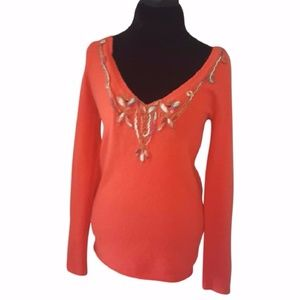 EUC Free People Embroidered Long-Sleeve Sweater
