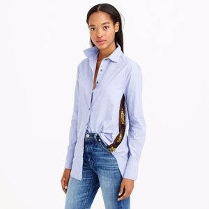 J.CREW Sequin Embellished Side Stripe Button Down