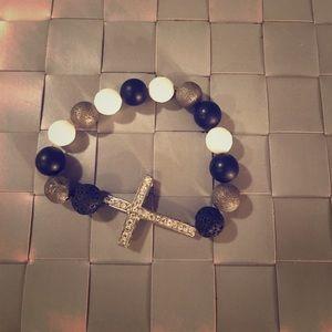 Cross Crystal Bracelet | Black, Gray, White |