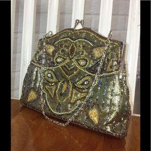 Handbags - Gold Beaded Small Evening Bag
