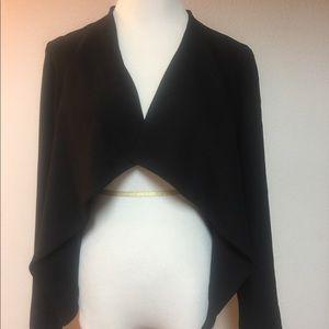 BB DAKOTA Women's Jacket Draping Collar Black Sz M