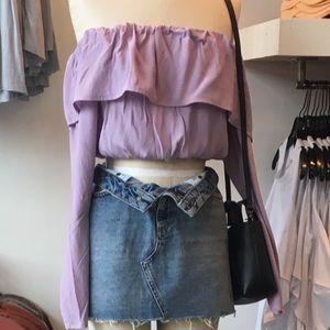 lavender off the shoulder crop
