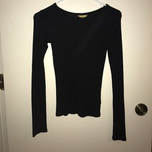 XS black rubbed long sleeve top
