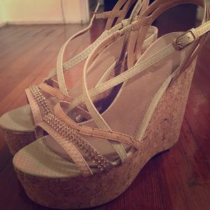 Aldo Wedges Nude Light Pink Tan with Bling