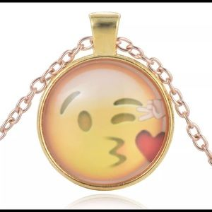Face expression glass dome necklace