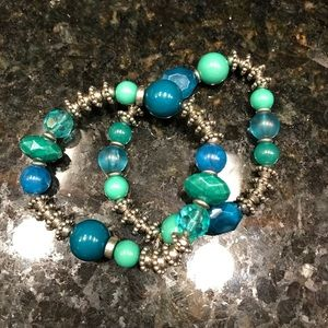 Set of two stretchy turquoise,blue & green beads