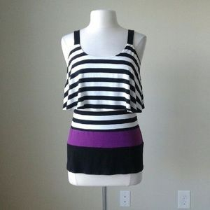 Striped flounce tank top with purple detailing