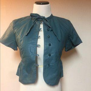 Anthropologie Tulle Green Fashion Jacket Sz Small