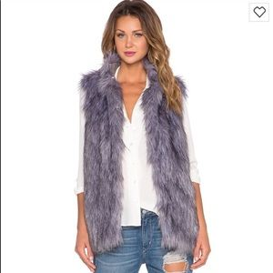 Camille Faux Fur Vest in Grey
