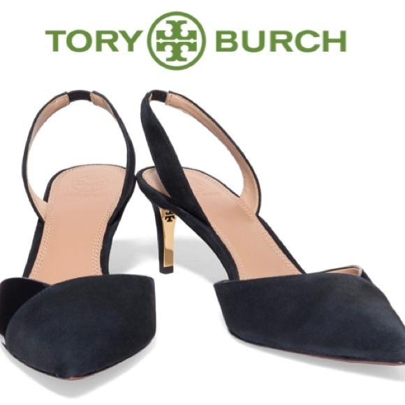 3b1a85cb9 NWOB❗️Tory Burch Slingback Suede Patent Heels