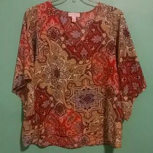 Multi Color Kimono Sleeve Blouse Top 1X
