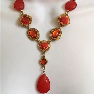 "Vintage Costume 20"" Gold Tone Red Beaded Necklace"