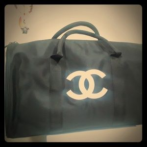 VIP chanel black canvas duffle